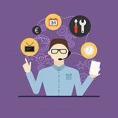 Technical Support Assistant Man Flat Design Vector Illustration