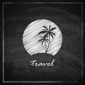 vintage illustration with tropic island sign on blackboard background. travel concept