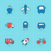 Travel And Transportation Icons. Vector Icon Set In Flat Design Style. For Web Site Design And Mobil