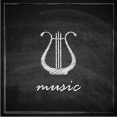 vintage illustration with the harp on blackboard background. music illustration