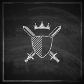 vintage illustration with a coat of arms on blackboard background