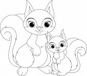 Squirrel and baby coloring page