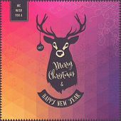 christmas card with deer and colorful triangles background