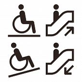 Escalator And Facilities For Disabled Symbols