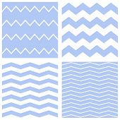 Tile vector chevron pattern set with blue and white zig zag background