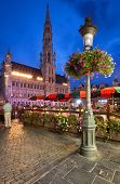 Brussels Town Hall In Grand Place At Night