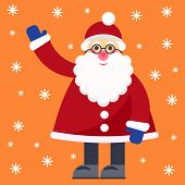 Funny Cartoon Winter Holidays Greeting Card With Santa Claus