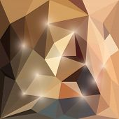 Abstract bright brown colored polygonal triangular background with glaring lights for use in design