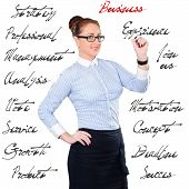 Young Beautiful Businesswoman With Pen Writing Whiteboard