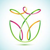 Vector illustration of a swirly figure in a flower