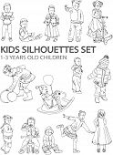 Little kids silhouettes, sketch collection