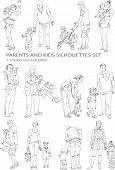 Parents and child silhouettes, sketch collection