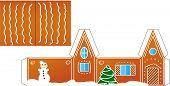 Gingerbread  house folded model paper