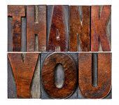 thank you in vintage letterpress wood type printing blocks with ink patina