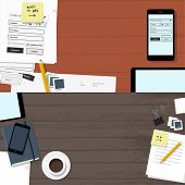 Empty website banners - top view of web design tools on red table & universal brown office desk - flat design illustration