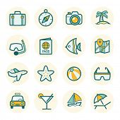 Travel and vacation Icons set // Flat color