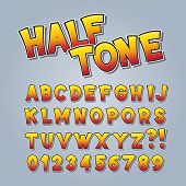 Halftone Comic Pop Art Alphabet and Numbers, Editable eps10 Vector