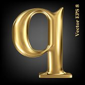 Golden shining metallic 3D symbol lowercase letter q, vector EPS8