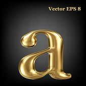 Golden shining metallic 3D symbol lowercase letter a, vector EPS8