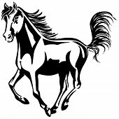 Black-and-white drawing horse running