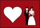 Bride And Groom With Heart On Red Background Vector Illustration