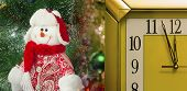 Amusing Figure Of A Snowman On A Christmas Fir-tree.