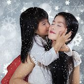 Beautiful Girl Kiss Her Mom With Full Love