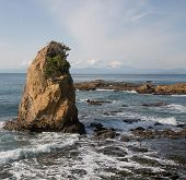 picture of mount fuji  - A rock formation near Hayama beach Japan with Mount Fuji in the distance - JPG