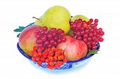 Apples, Pears, Berries And Rowan In A Vase On A White Background.