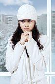 Jealous Girl In Winter Overcoat