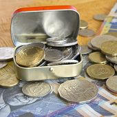 metal tin with Australian coins
