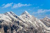 Jungfrau Mountain Range With Blue Sky In Switzerland