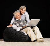 Senior couple is working
