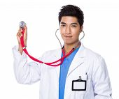 Doctor use of stethoscope