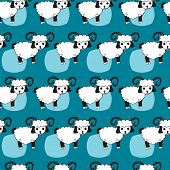 Seamless repeating pattern of white sheep with horns