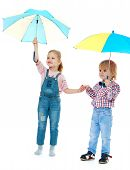 stock photo of montessori school  - boy with a girl standing under a multi - JPG