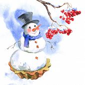 Christmas Watercolor New Year Card with Snowman Cupcakes and with a Branch of Rowan