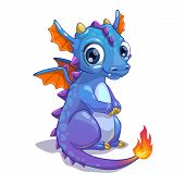stock photo of fairy tail  - Cute blue cartoon dragon with fire on the tail - JPG