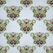 Seamless Background With Floral Symmetrical Elements.