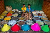 GOKARNA, KARNATAKA, INDIA - JANUARY 19, 2013: Unidentified boys sell dye powder and spices on the street market on January 19, 2013 in Gokarna, Karnataka, India.