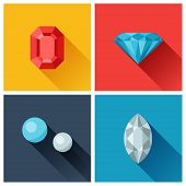 Beautiful jewelry precious stones in flat design style.