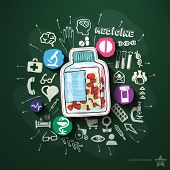 Healthcare collage with icons on blackboard