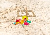 Colorful Sandcastle In Tropical Beach