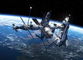 image of spaceman  - Space Shuttle And Space Station In Space - JPG