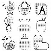 The set of black baby's symbols