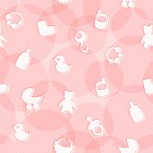Sweet Seamless Pattern with Baby's Items