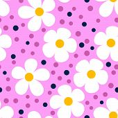Modern seamless pattern with camomiles