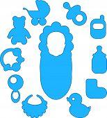 The set of newborn baby's icons