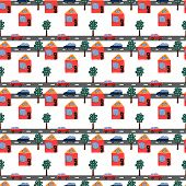 Seamless repeating pattern of hand drawn houses cars and trees