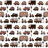 Vector colorful hand drawn doodle cartoon cars seamless pattern